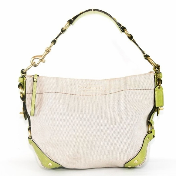 Coach Handbags - Coach Canvas and Lime Green Leather Tote